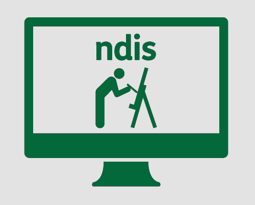 A monitor showing someone working on a painting, with 'ndis' above it.