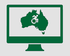 A monitor displaying an image of Australia, and a person moving forward in a wheelchair.