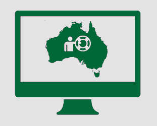A monitor showing Australia, and a person holding out a lifesaver.