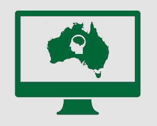 A monitor showing Australia, and a head with a brain showing through