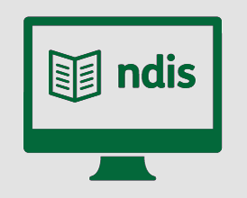 A monitor with a booklet, and 'ndis'.