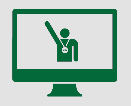 A monitor with a person with one arm raised up in the air, wearing a medal around their neck with 'NDIS' in it.