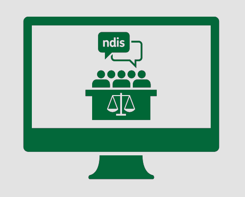 A monitor displaying a jury discussing the NDIS.
