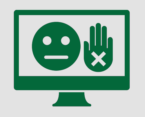 A monitor showing a sad face, and a hand held up to mean 'stop'. The hand has a cross in it to reinforce the idea of 'stop'.