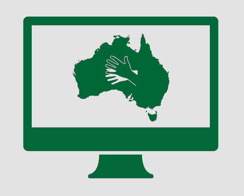 A monitor showing Australia, and the symbol for Australian sign language (Auslan).