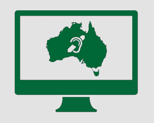 A monitor showing Australia, and the deaf symbol.