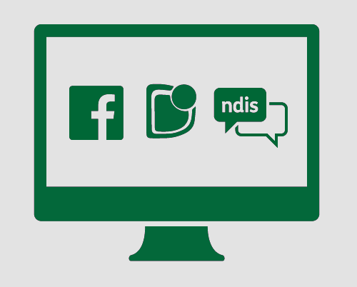 "A monitor showing the Facebook logo, the stylised ""D"" from the Down Syndrome Australia logo, and a conversation with 'ndis' in it."