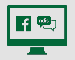 Monitor with Facebook logo and speech bubbles. One of the speech bubbles says 'ndis'.