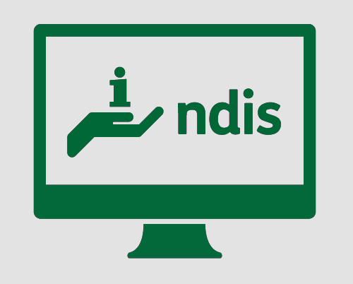 A monitor with a hand holding an 'i', commonly used an a symbol for 'information', and 'ndis'.