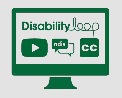 A monitor with Disability Loop, a video play button, an NDIS conversation, and the symbol for Closed Captions.