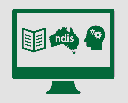 A monitor displaying a booklet, an outline of Australia, 'ndis', and a human head with cogs inside it.