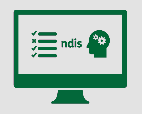 A monitor, with a checklist, 'ndis', and a person's head with cogs in it.
