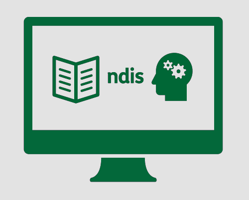 A monitor, with a booklet, 'ndis', and a person's head with cogs in it.