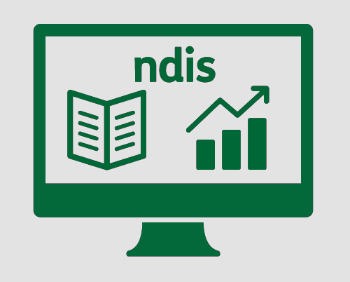 A monitor with 'ndis', a document, and a graph.