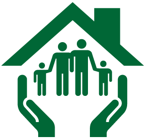 Hands holding a family in a home