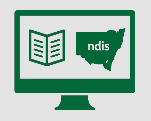 A monitor with a fact sheet, and New South Wales with NDIS in it.
