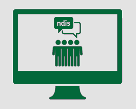 A monitor displaying four people standing together discussing the NDIS.