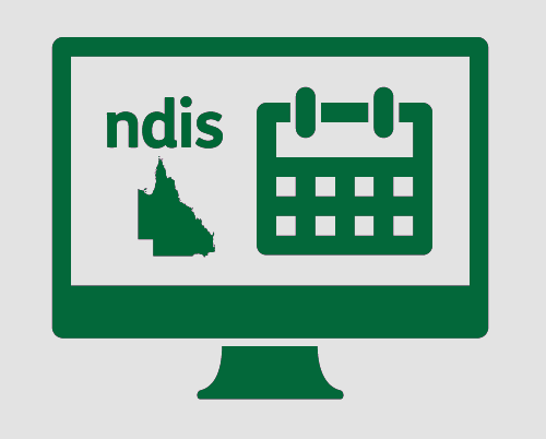 A monitor with the 'ndis', the state of Queensland, and a calendar.