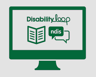 A monitor showing the Disability Loop logo, a booklet, and a conversation with 'ndis' in it.