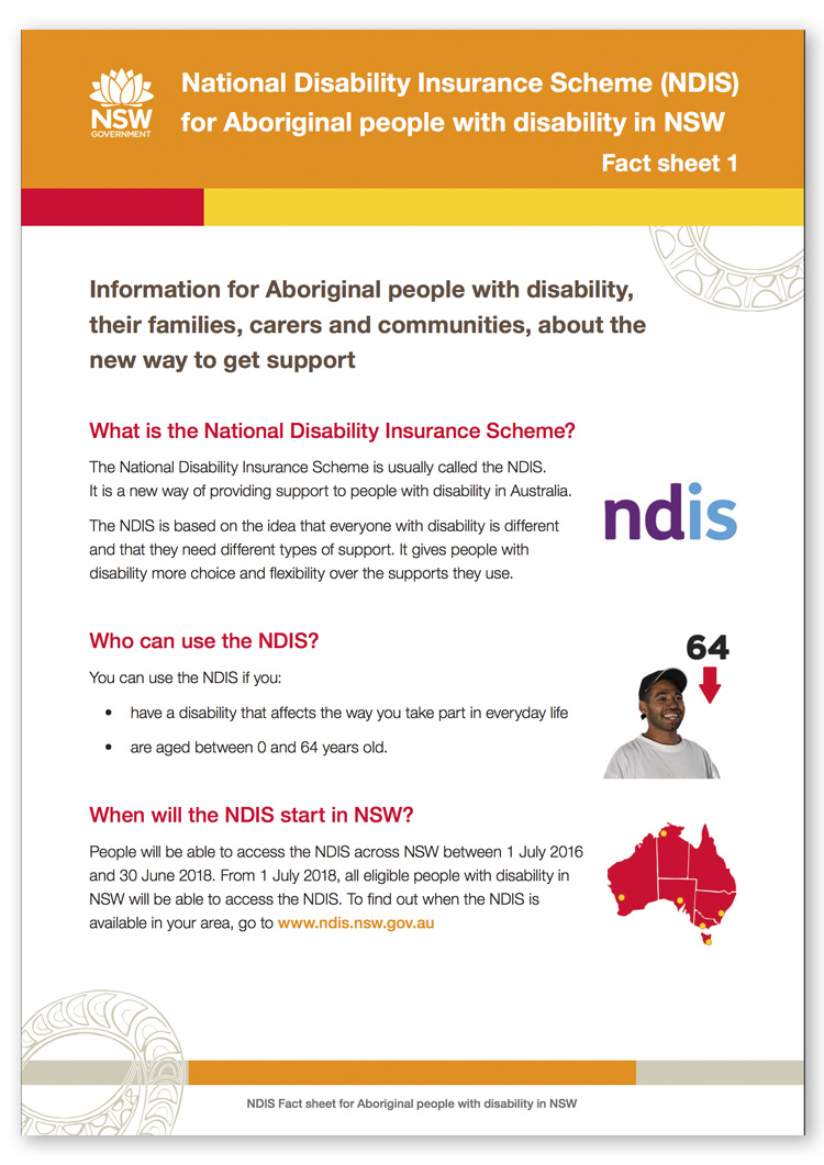 Screenshot of page 1 of the NDIS for Aboriginal people with disability in NSW Fact sheet 1
