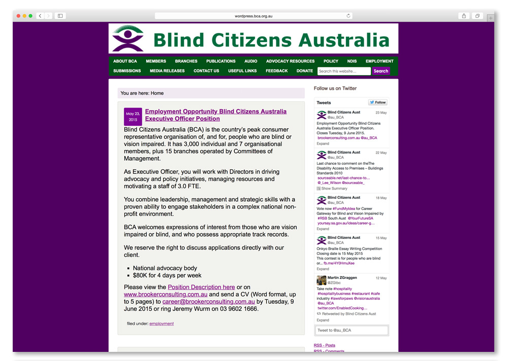 Screenshot of the Blind Citizens Australia website homepage.