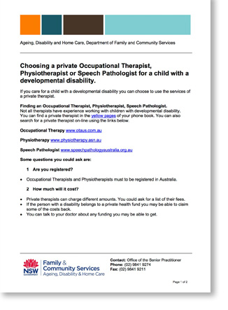Screenshot of first page of the Choosing a private Occupational Therapist, Physiotherapist or Speech Pathologist for a child with a developmental disability document.