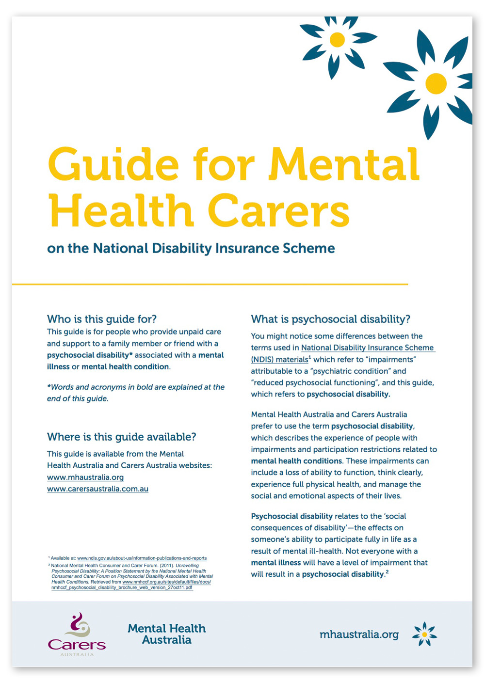 Screenshot of page 1 of the Mental Health Carers Guide PDF