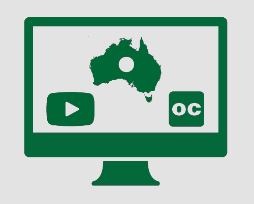 A monitor with Australian (with a circle in the middle akin to the Australian Aboriginal flag), a video 'play' button, and the symbol for Open Captions