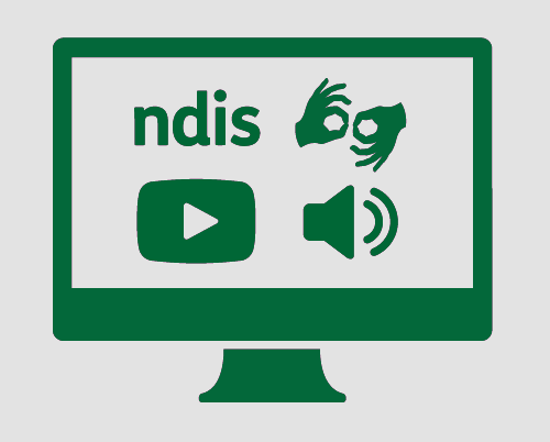 A monitor with ndis, symbol for sign language, a video play button, and a speaker with sound waves coming out of it.