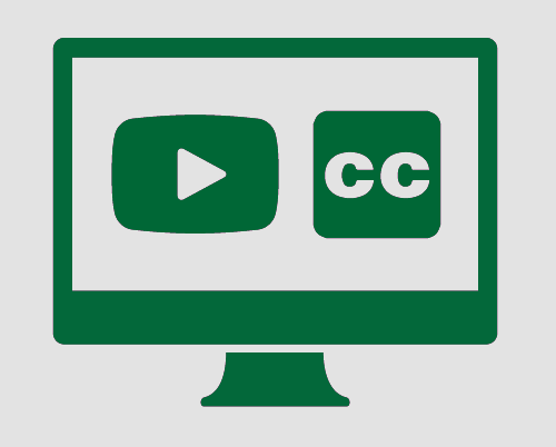 Monitor with a video and the closed captions symbol.