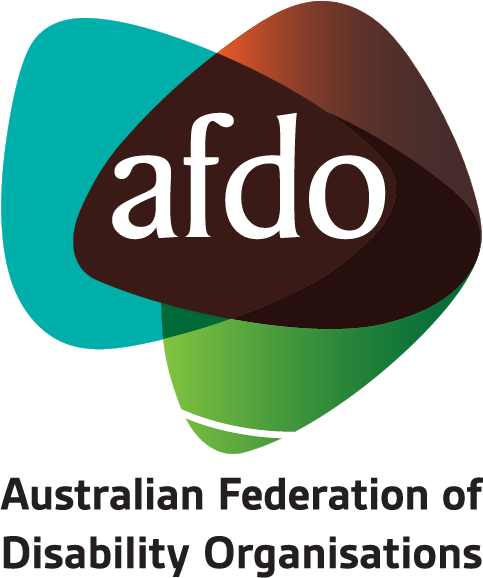 The AFDO logo with Australian Federation of Disability Organisations below